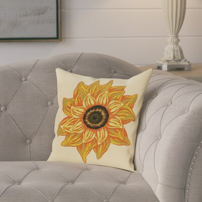 Milieu El Girasol Feliz Flower Print Throw Pillow Size: 26 H x 26 W, Color: Yellow