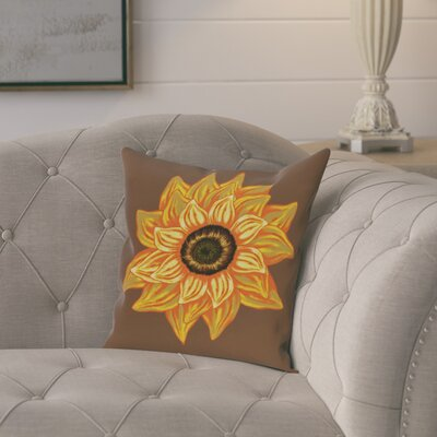 Milieu El Girasol Feliz Flower Print Throw Pillow Size: 16 H x 16 W, Color: Brown