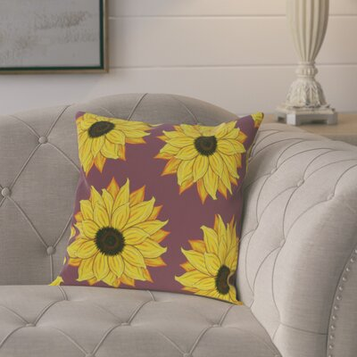 Laniel Sunflower Power Flower Print  OutdoorThrow Pillow Size: 20 H x 20 W, Color: Purple