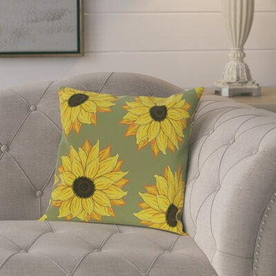 Laniel Sunflower Power Flower Print  OutdoorThrow Pillow Size: 18 H x 18 W, Color: Green