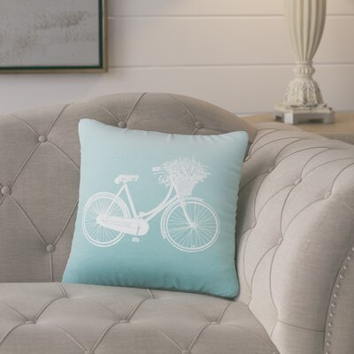 Superior Bike Cotton Throw Pillow Color: Aqua