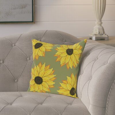 Laniel Sunflower Power Flower Print Throw Pillow Color: Green, Size: 18 H x 18 W