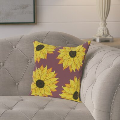 Laniel Sunflower Power Flower Print Throw Pillow Size: 16 H x 16 W, Color: Purple