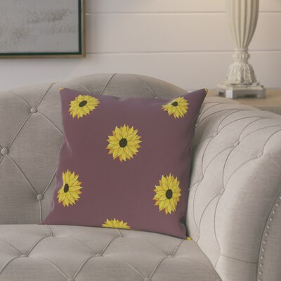 Laniel Sunflower Frenzy Flower Print Throw Pillow Size: 26 H x 26 W, Color: Purple
