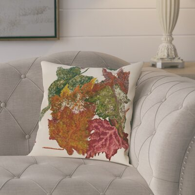 Maillett Autumn Leaves Flower Print  OutdoorThrow Pillow Size: 18 H x 18 W, Color: Off White