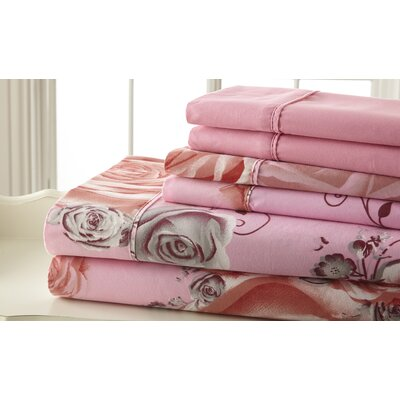 Hyacinthe Sheet Set in Pink & Gray Size: Queen
