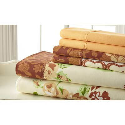 Hyacinthe Sheet Set in Brown & Orange Size: Queen