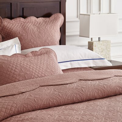 Lafollette Luxury Quilted Pillow Sham Size: Euro, Color: Marsala