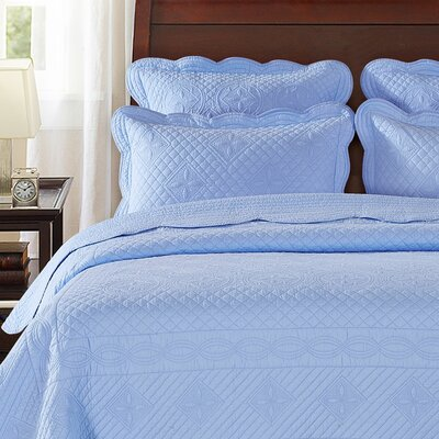 Lafollette Luxury Quilted Pillow Sham Color: Light Blue, Size: King