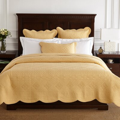 Lafollette Luxury Quilted Pillow Sham Size: Standard, Color: Gold