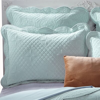 Lafollette Luxury Quilted Pillow Sham Size: Euro, Color: Light Aqua