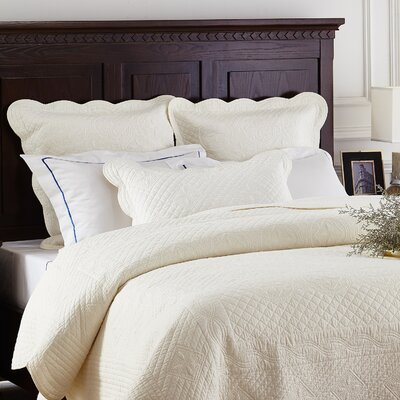Lafollette Luxury Quilted Pillow Sham Size: Standard, Color: Ivory