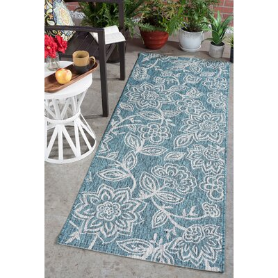 Stephane Transitional Aqua Indoor/Outdoor Area Rug Rug Size: Runner 27 x 73