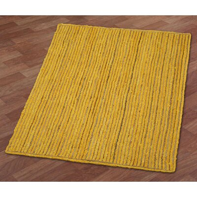 Latour Racetrack Hand-Loomed Yellow Area Rug Rug Size: 4 x 6