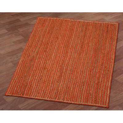 Latour Racetrack Hand-Loomed Orange Area Rug Rug Size: 26 x 42