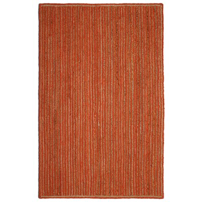 Latour Racetrack Hand-Loomed Orange Area Rug Rug Size: 4 x 6