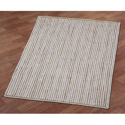 Latour Racetrack Hand-Loomed White/Brown Area Rug Rug Size: 26 x 42