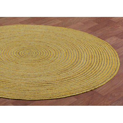 Latour Hand-Loomed Yellow Area Rug Rug Size: Round 6