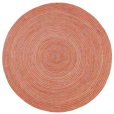 Latour Hand-Loomed Orange Area Rug Rug Size: Round 6