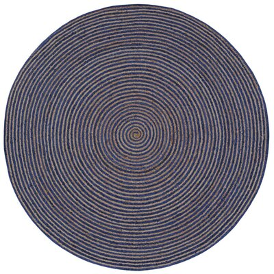 Latour Hand-Loomed Blue Area Rug Rug Size: Round 8