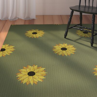 Laniel Sunflower Frenzy Flower Print Green Indoor/Outdoor Area Rug Rug Size: Rectangle 3 x 5