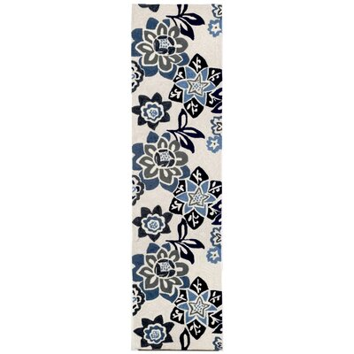 Dazey Blue/White Outdoor Area Rug Rug Size: Runner 2 x 8
