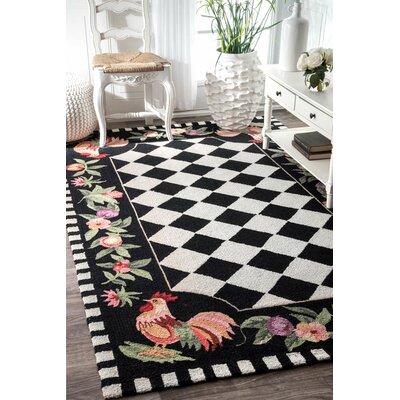 Bacourt Black Novelty Area Rug
