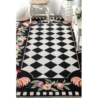 Bacourt Black Novelty Area Rug Rug Size: Rectangle 36 x 56
