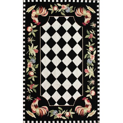 Bacourt Black Novelty Area Rug Rug Size: 76 x 96