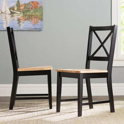 Sally Cross Back Side Chair Finish: Black/Natural