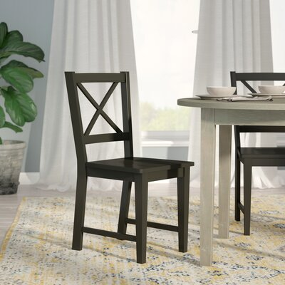 Sally Cross Back Side Chair Color: Black