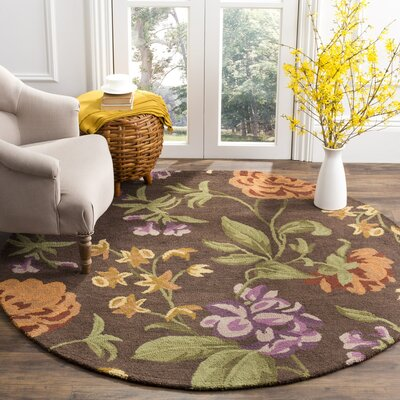 Ginger Brown Floral Area Rug Rug Size: Round 6