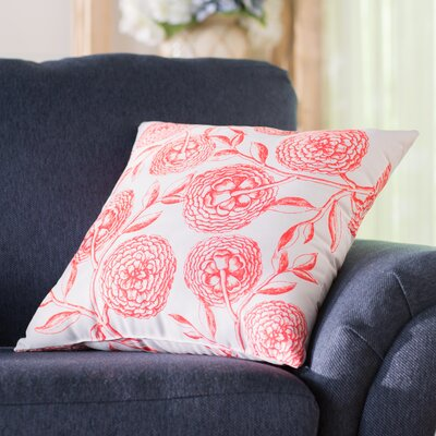 Swan Valley Blooms Antique Flowers Print Throw Pillow Size: 16 H x 16 W, Color: Coral