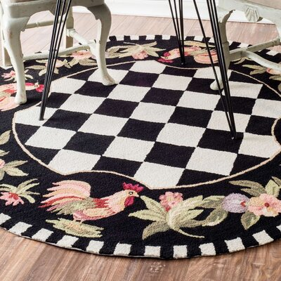Bacourt Black Novelty Area Rug Rug Size: Round 8