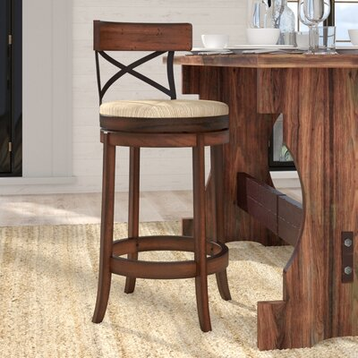 Jacklyn 29 inch Swivel Bar Stool Finish: Mahogany