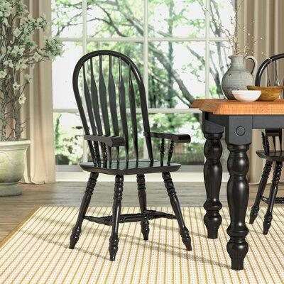 Malaysian Oak Windsor Back Arm Chair Finish: Antique Black