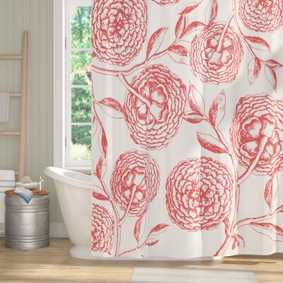 Oliver Antique Flowers Print Shower Curtain Color: Coral