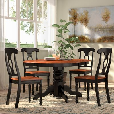Aimee 5 Piece Dining Set Finish: Black / Cherry