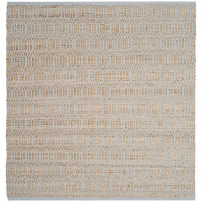 Zap Hand-Woven Silver/Natural Area Rug Rug Size: Square 6