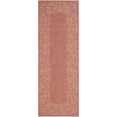 Laurel Rust/Sand Leaves Outdoor Rug Rug Size: Runner 24 x 67