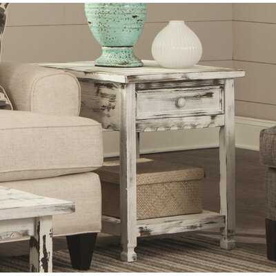 Mangum Cottage Rectangular End Table Color: White