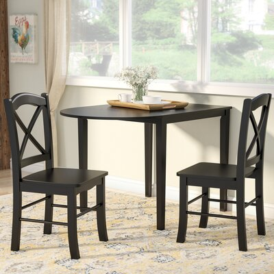 Wisteria 3 Piece Dining Set Finish: Black
