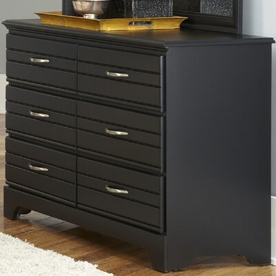 Della 6 Drawer Double Dresser Color: Black