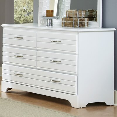 Della 6 Drawer Double Dresser Color: White