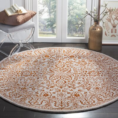 Prestige Hand-Tufted Gray/Rust Area Rug Rug Size: Round 6