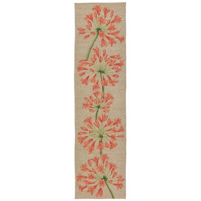 Dazey Lily Hand-Tufted Beige/Red Indoor/Outdoor Area Rug Rug Size: Runner 2' x 8'