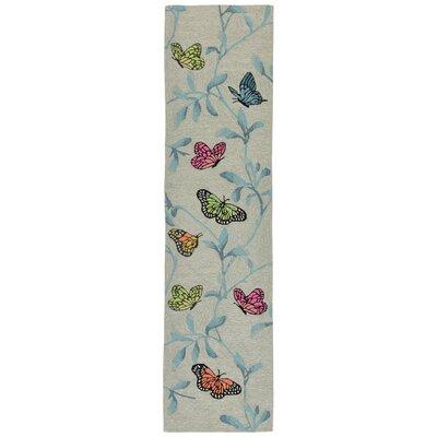 Haverstraw Butterflies on Tree Hand-Tufted Beige/Blue Indoor/Outdoor Area Rug Rug Size: Runner 2 x 8