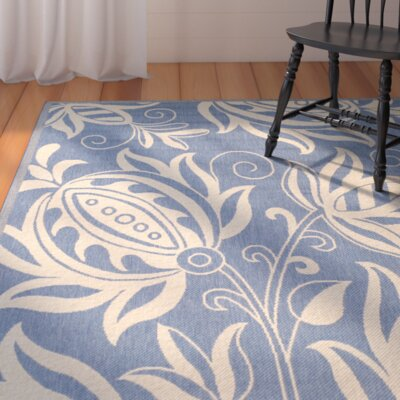 Laurel Blue/Natural Area Rug Rug Size: Runner 23 x 14