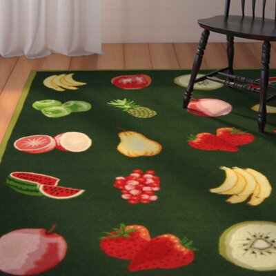 Kinchen Green Savoy Fruit Novelty Area Rug Rug Size: Round 4
