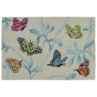 Haverstraw Butterflies on Tree Hand-Tufted Beige/Blue Indoor/Outdoor Area Rug Rug Size: 2 x 3